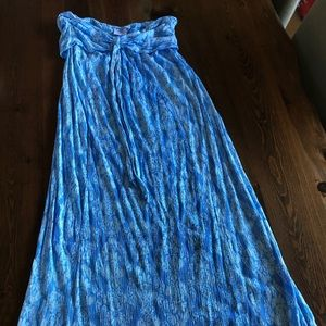 Blue print Strapless dress